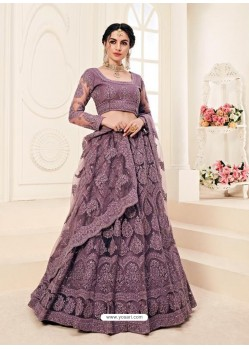 Purple Heavy Embroidered Designer Wedding Lehenga Choli