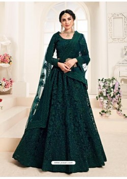 Teal Heavy Embroidered Designer Wedding Lehenga Choli