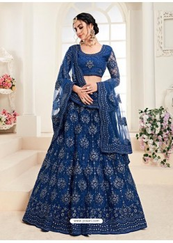 Royal Blue Heavy Embroidered Designer Wedding Lehenga Choli