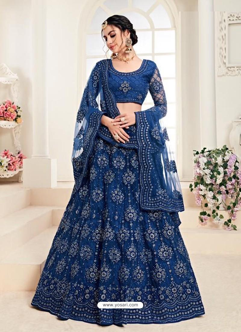 Royal Blue Heavy Embroidered Designer Wedding Lehenga Choli