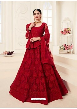 Red Heavy Embroidered Designer Wedding Lehenga Choli