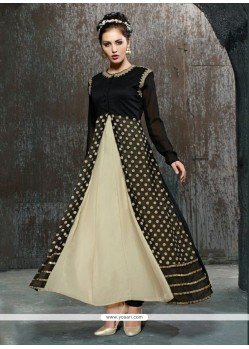 Adorning Black And Cream Net Anarkali Salwar Kameez