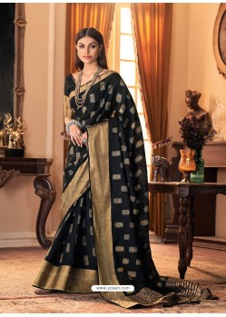 Black Designer Casual Printed Silk Sari