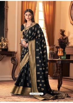Black Designer Casual Printed Silk Sari