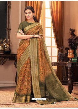 Orange Designer Casual Printed Silk Sari