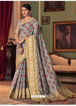 Grey Designer Casual Printed Silk Sari