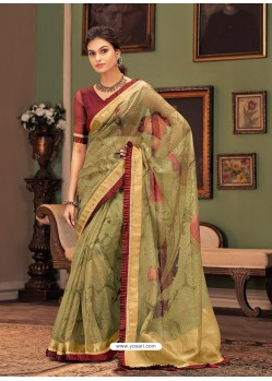 Green Designer Casual Printed Silk Sari