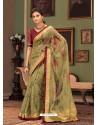 Green Designer Casual Printed Silk Sari