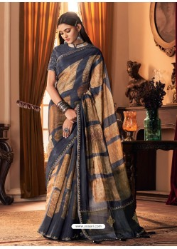 Navy Blue Designer Casual Printed Silk Sari
