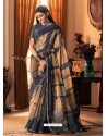 Navy Blue Designer Casual Printed Silk Sari