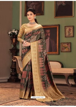 Multi Colour Designer Casual Printed Silk Sari