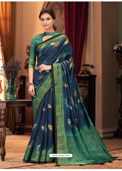 Dark Blue Designer Casual Printed Silk Sari
