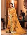 Mustard Designer Casual Printed Silk Sari