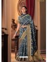 Dark Blue Designer Casual Printed Silk Sari