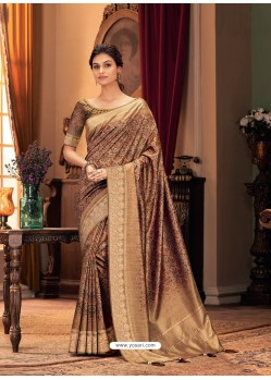 Copper Designer Casual Printed Silk Sari
