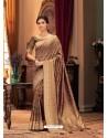Copper Designer Casual Printed Silk Sari