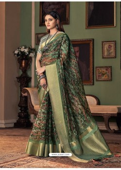 Dark Green Designer Casual Printed Silk Sari