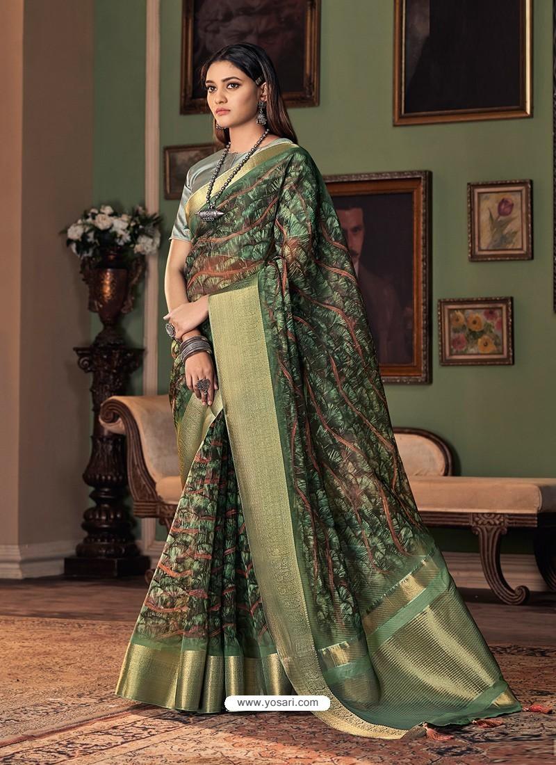 Dark Green Designer Casual Printed Silk Sari