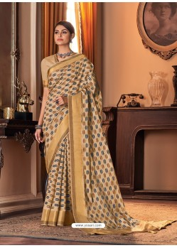 Light Beige Designer Casual Printed Silk Sari