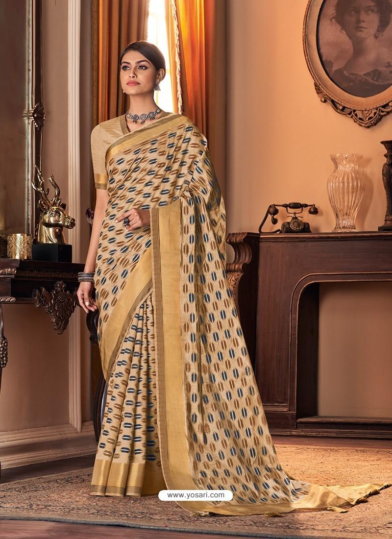 Light Beige Designer Casual Printed Silk Sari
