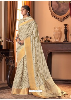 Off White Designer Casual Printed Silk Sari