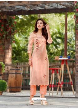 Light Orange Designer Readymade Party Wear Kurti With Palazzo
