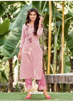 Light Pink Designer Readymade Party Wear Kurti With Palazzo