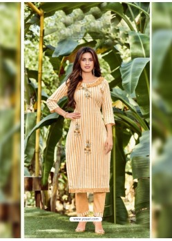 Yellow Designer Readymade Party Wear Kurti With Palazzo