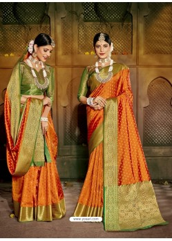Orange Latest Designer Traditional Party Wear Soft Silk Sari
