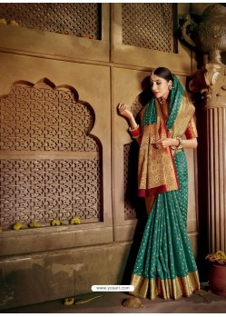 Teal Latest Designer Traditional Party Wear Soft Silk Sari
