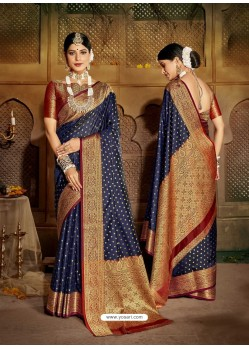 Navy Blue Latest Designer Traditional Party Wear Soft Silk Sari