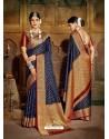 Navy Blue Latest Designer Traditional Party Wear Soft Silk Sari