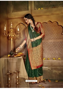 Dark Green Latest Designer Traditional Party Wear Soft Silk Sari