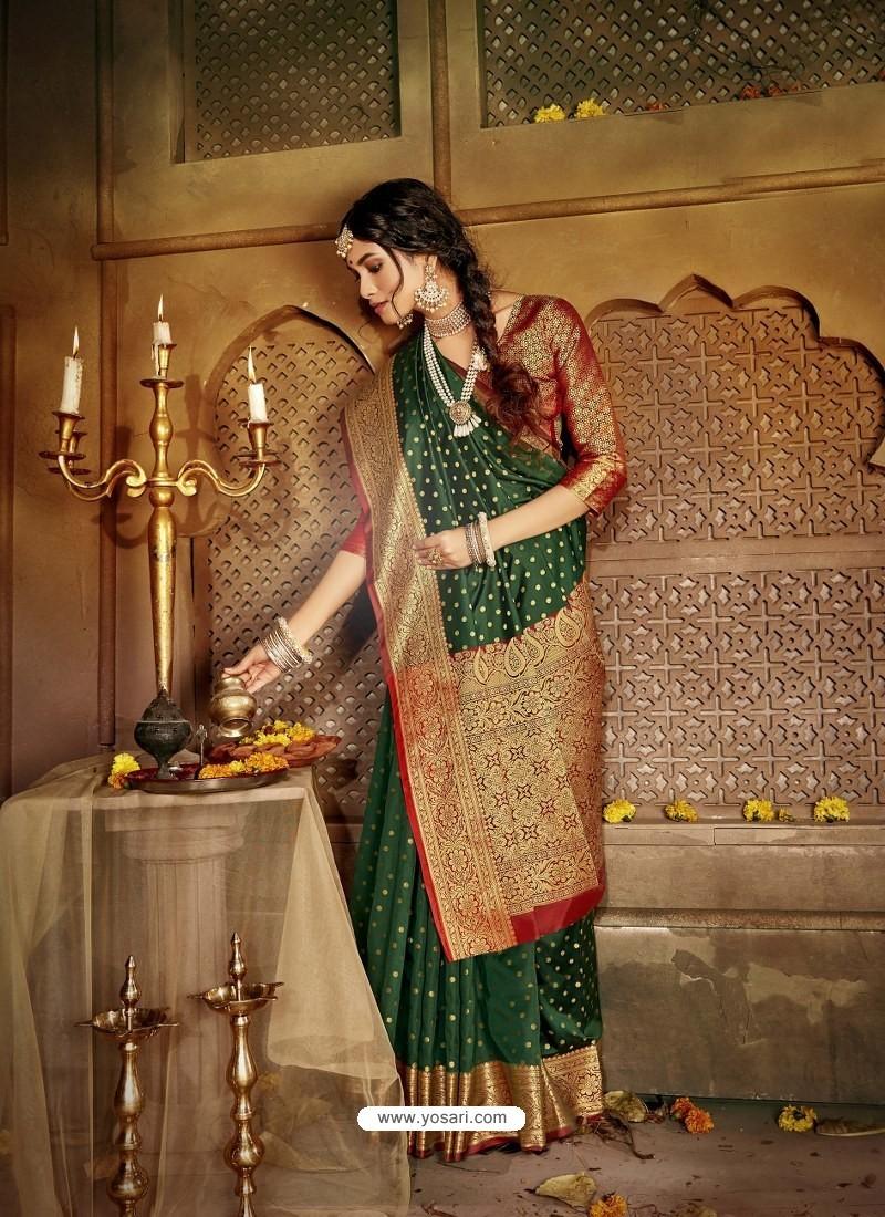 Dark Green Latest Designer Traditional Party Wear Soft Silk Sari