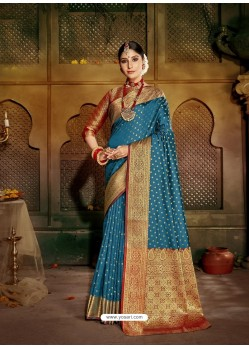Blue Latest Designer Traditional Party Wear Soft Silk Sari