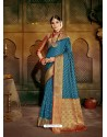 Blue Latest Designer Traditional Party Wear Soft Silk Sari