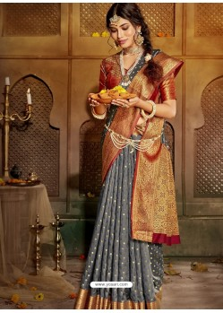 Grey Latest Designer Traditional Party Wear Soft Silk Sari