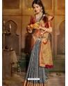 Grey Latest Designer Traditional Party Wear Soft Silk Sari