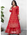 Red Readymade Designer Kurti With Gown Both Combine