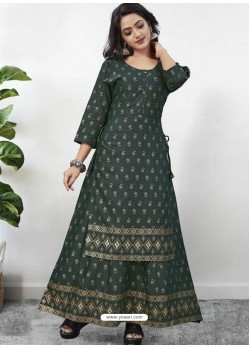 Dark Green Readymade Designer Kurti With Gown Both Combine