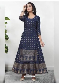 Navy Blue Readymade Designer Kurti With Gown Both Combine