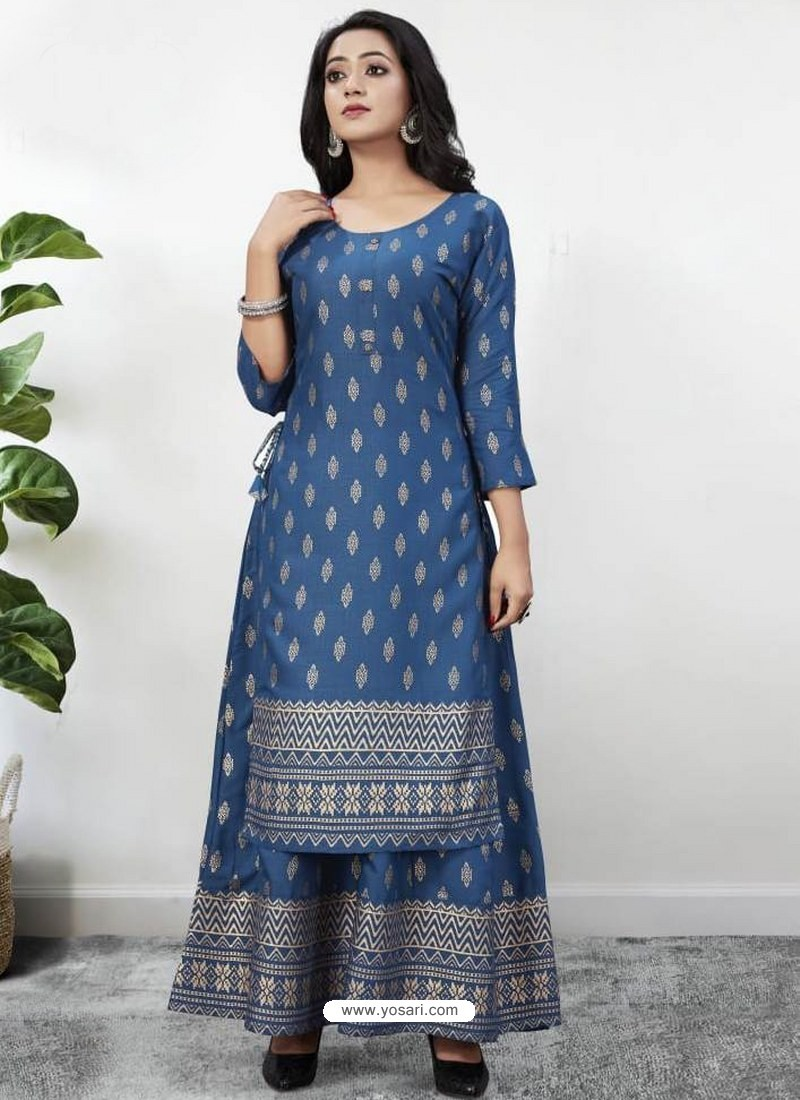 Blue Readymade Designer Kurti With Gown Both Combine