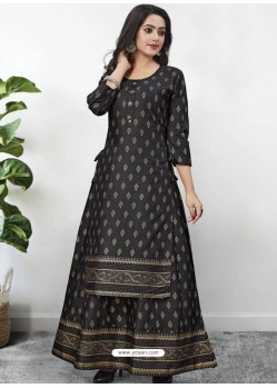 Black Readymade Designer Kurti With Gown Both Combine
