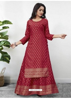 Maroon Readymade Designer Kurti With Gown Both Combine