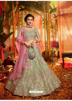 Green Heavy Embroidered Designer Wedding Lehenga Choli