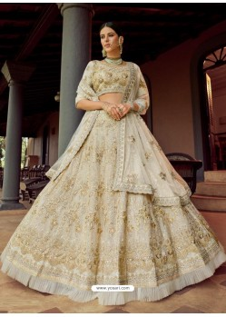 Off White Heavy Embroidered Designer Wedding Lehenga Choli