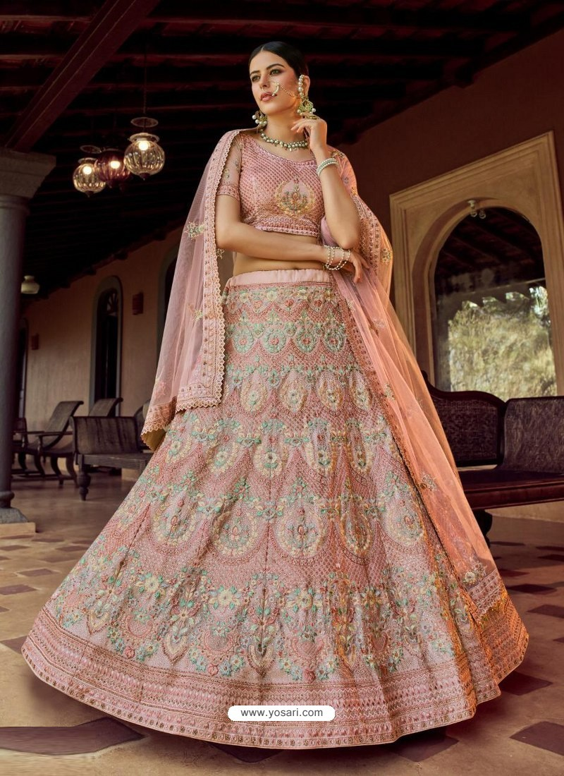 Dusty Pink Heavy Embroidered Designer Wedding Lehenga Choli