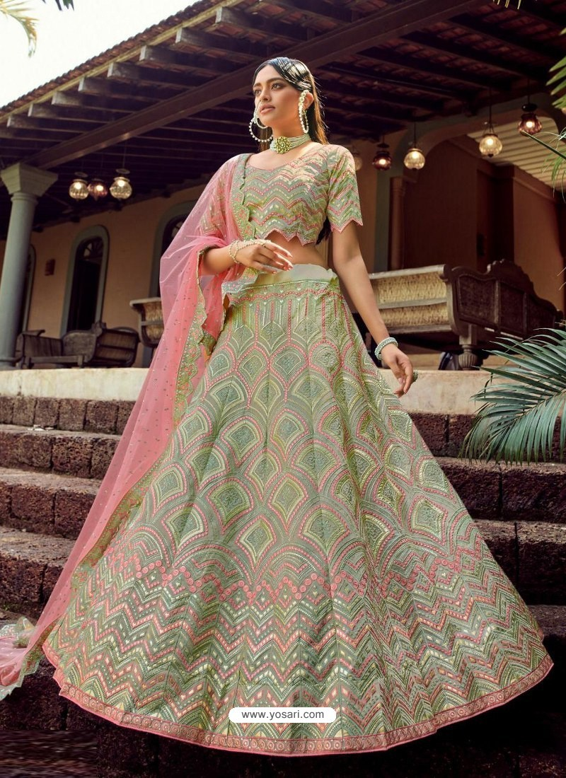 Sea Green Heavy Embroidered Designer Wedding Lehenga Choli