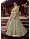 Pista Green Heavy Embroidered Designer Wedding Lehenga Choli