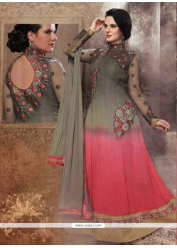 Miraculous Pink Georgette Anarkali Suit